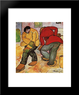 Floor Polishers: Modern Black Framed Art Print by Kazimir Malevich