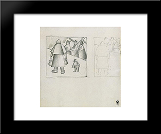 In The Field: Modern Black Framed Art Print by Kazimir Malevich