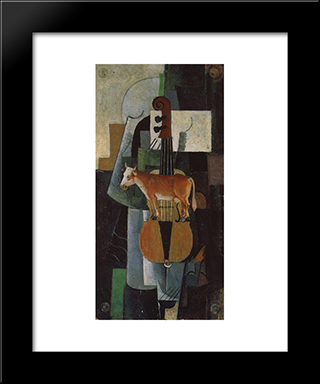 Cow And Fiddle: Modern Black Framed Art Print by Kazimir Malevich