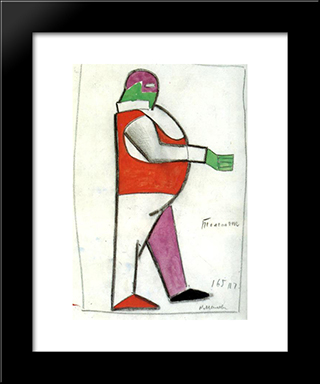 Fat Man: Modern Black Framed Art Print by Kazimir Malevich