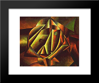 Head Of A Peasant Girl: Modern Black Framed Art Print by Kazimir Malevich
