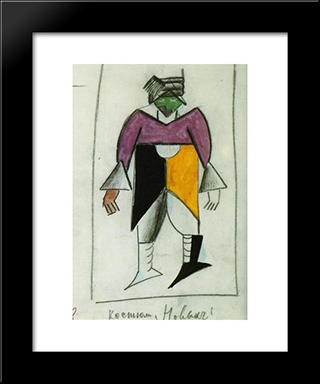 New Man: Modern Black Framed Art Print by Kazimir Malevich
