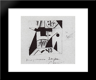 Decor Sketches For The Opera 'Victory Over The Sun': Modern Black Framed Art Print by Kazimir Malevich