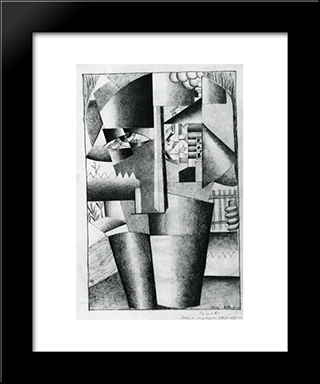 Peasant Woman With Buckets: Modern Black Framed Art Print by Kazimir Malevich