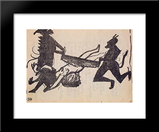 Devils Are Sawing Sinner: Modern Black Framed Art Print by Kazimir Malevich