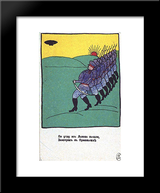 In The Morning Went From Lviv: Modern Black Framed Art Print by Kazimir Malevich