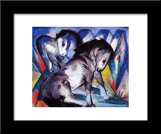 Two Horses: Modern Black Framed Art Print by Franz Marc