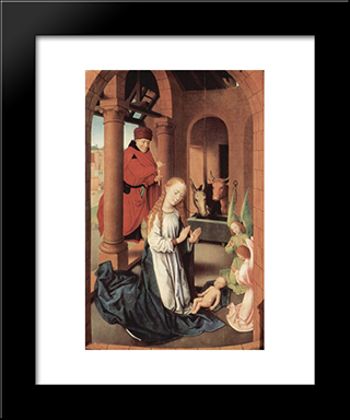 The Nativity, Left Wing Of A Triptych Of The Adoration Of The Magi: Modern Black Framed Art Print by Hans Memling