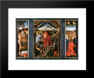 The Resurrection, Central Panel From The Triptych Of The Resurrection: Modern Black Framed Art Print by Hans Memling