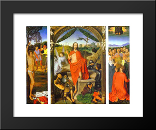 Triptych Of The Resurrection: The Resurrection (Centre) The Martyrdom Of St. Sebastian (Left) And The Ascension (Right): Modern Black Framed Art Print by Hans Memling