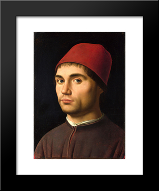 Portrait Of A Man: Modern Black Framed Art Print by Antonello da Messina