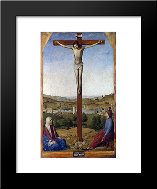 Crucifixion: Modern Black Framed Art Print by Antonello da Messina