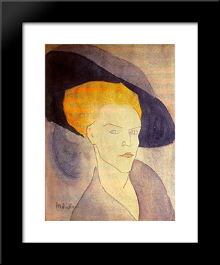 Head Of A Woman With A Hat: Modern Black Framed Art Print by Amedeo Modigliani