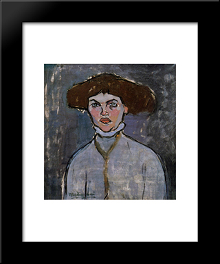 Head Of A Young Woman: Modern Black Framed Art Print by Amedeo Modigliani