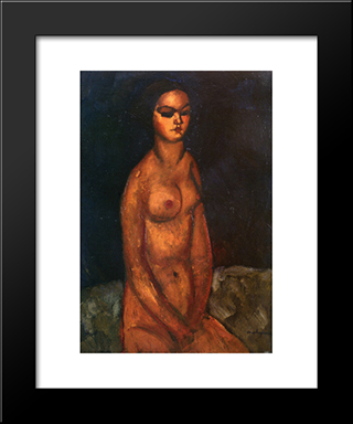 Seated Nude: Modern Black Framed Art Print by Amedeo Modigliani