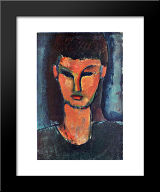 Young Woman: Modern Black Framed Art Print by Amedeo Modigliani