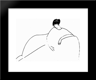 Anna Akhmatova: Modern Black Framed Art Print by Amedeo Modigliani