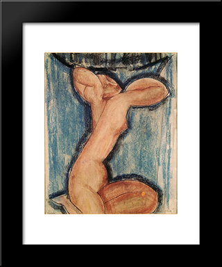 Caryatid: Modern Black Framed Art Print by Amedeo Modigliani