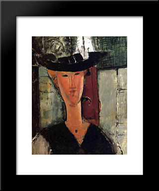 Madame Pompadour: Modern Black Framed Art Print by Amedeo Modigliani