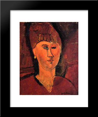 Head Of Red-Haired Woman: Modern Black Framed Art Print by Amedeo Modigliani