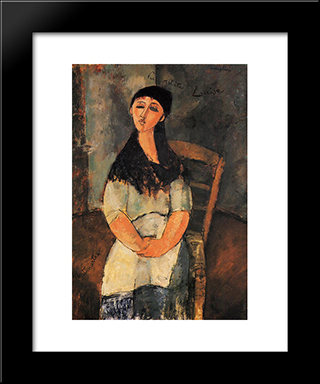 Little Louise: Modern Black Framed Art Print by Amedeo Modigliani