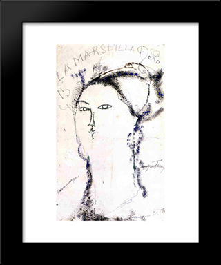 Madame Othon Friesz, La Marseillaise: Modern Black Framed Art Print by Amedeo Modigliani