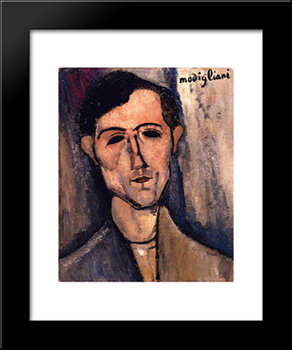 Man'S Head (Portrait Of A Poet): Modern Black Framed Art Print by Amedeo Modigliani