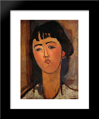 Portrait Of A Woman: Modern Black Framed Art Print by Amedeo Modigliani