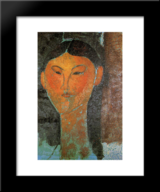 Portrait Of Beatrice Hastings: Modern Black Framed Art Print by Amedeo Modigliani