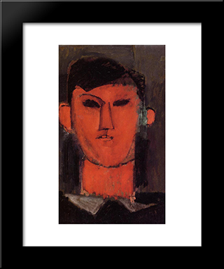 Portrait Of Picasso: Modern Black Framed Art Print by Amedeo Modigliani