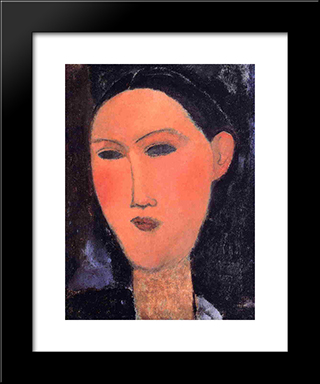Woman'S Head: Modern Black Framed Art Print by Amedeo Modigliani