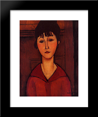 Head Of A Young Girl: Modern Black Framed Art Print by Amedeo Modigliani