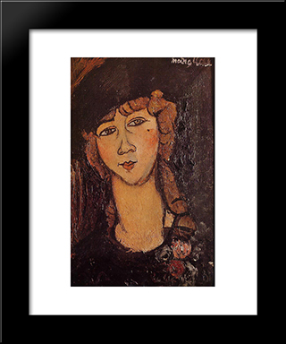 Lolotte (Head Of A Woman In A Hat): Modern Black Framed Art Print by Amedeo Modigliani