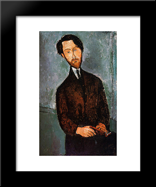 Portrait Of Leopold Zborowski: Modern Black Framed Art Print by Amedeo Modigliani