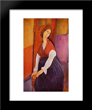 Jeanne Hebuterne In Red Shawl: Modern Black Framed Art Print by Amedeo Modigliani