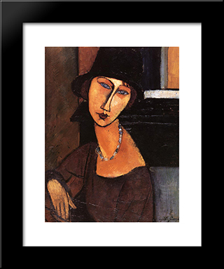 Jeanne Hebuterne With Hat And Necklace: Modern Black Framed Art Print by Amedeo Modigliani