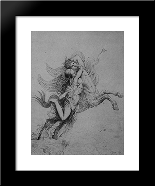 The Chimera: Modern Black Framed Art Print by Gustave Moreau