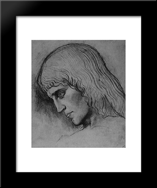 Study For The Head Of `Oedipus: Modern Black Framed Art Print by Gustave Moreau
