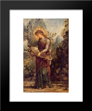 Thracian Girl Carrying The Head Of Orpheus: Modern Black Framed Art Print by Gustave Moreau