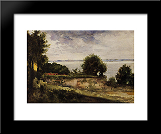 View Of The Garden Of Madame Aupick, Mother Of Baudelaire: Modern Black Framed Art Print by Gustave Moreau