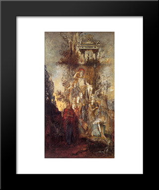 The Muses Leaving Their Father Apollo To Go Out And Light The World: Modern Black Framed Art Print by Gustave Moreau