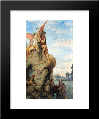 Hesiod And The Muse: Modern Black Framed Art Print by Gustave Moreau