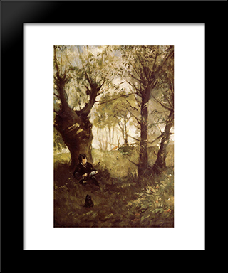 The Old Track To Auvers: Modern Black Framed Art Print by Berthe Morisot