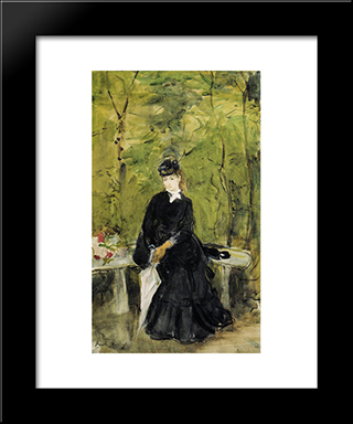 Young Lady Seated On A Bench: Modern Black Framed Art Print by Berthe Morisot