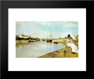 The Harbor At Lorient: Modern Black Framed Art Print by Berthe Morisot