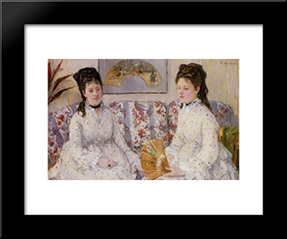 Two Sisters On A Couch: Modern Black Framed Art Print by Berthe Morisot