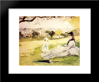 Woman And Child Seated In A Meadow: Modern Black Framed Art Print by Berthe Morisot