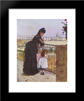 Woman And Child On The Balcony: Modern Black Framed Art Print by Berthe Morisot