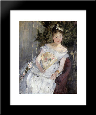 Portrait Of Marguerite Carre (Also Known As Young Girl In A Ball Gown): Modern Black Framed Art Print by Berthe Morisot