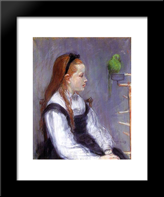 Young Girl With A Parrot: Modern Black Framed Art Print by Berthe Morisot
